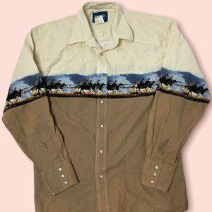 Wrangler Western Cowboy Brown Cream Pearl Snap Long Sleeve Shirt Mens Size L